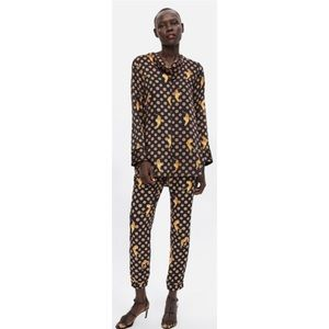 Zara Tiger Print Cowl Neck Blouse And Trousers Set